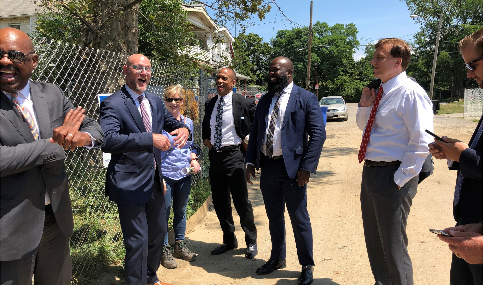 Executive Director Turner, Assistant Secretary Fleming, and Ja'Ron Smith, Deputy Assistant to the President, tour an Opportunity Zone project in Tremont, South Cleveland, OH