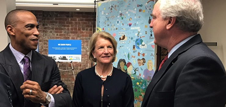 Executive Director Turner, Senator Shelley Moore Capito, and West Virginia Delegate Eric Nelson speak after an Opportunity Zones roundtable discussion in Charleston, WV