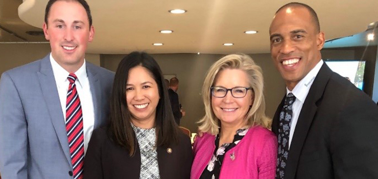 Executive Director Turner, Congresswoman Liz Cheney, HUD Regional Administrator Evelyn Lim, and SBA Regional Administrator Dan Nordberg at an Opportunity Zones roundtable in Casper, WY