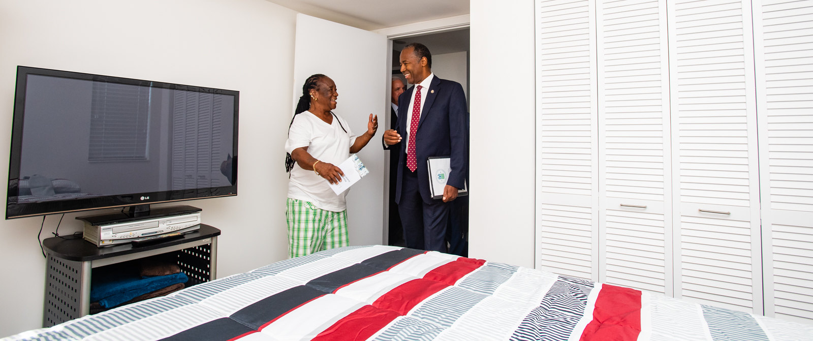 Secretary Carson tours an apartment in Liberty Square, an Opportunity Zones property in Miami, FL