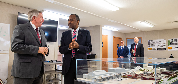 Secretary Carson and Missouri Governor Mike Parson tour an Opportunity Zone in St. Louis