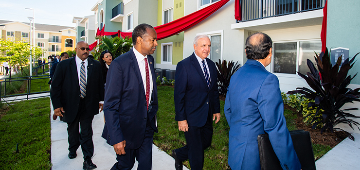 Secretary Carson joins Miami Dade County Mayor Carlos Gimenez for the grand opening of Liberty Square, an Opportunity Zone property in Miami, FL
